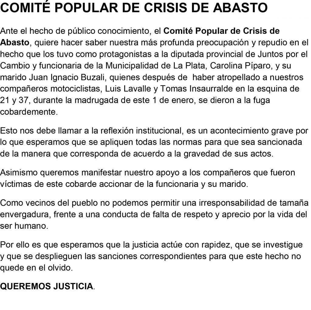 """Caso Píparo: """"No hay estrategia de defensa más que decir la verdad"""""""