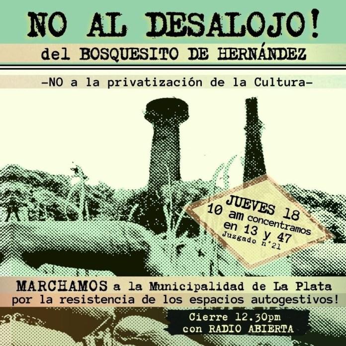 Movilización contra del desalojo del Bosquesito