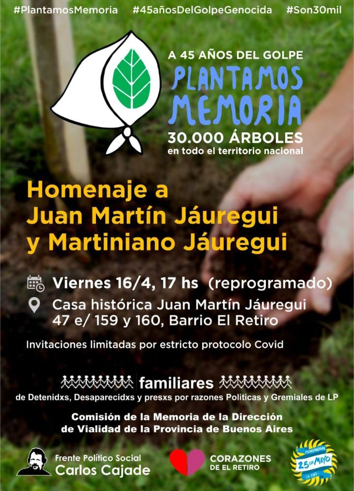 Se reprogramó el Homenaje a Juan Martín Jáuregui y Martiniano Jáuregui